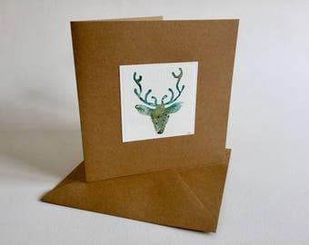 Watercolor greeting card antler