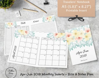 A5 Monthly Planner Inserts, A5 TN Inserts, Planner 2018 Monthly, Bill Planner 2018, Planner for 2018, Floral Planner 2018, 3 Month Planner