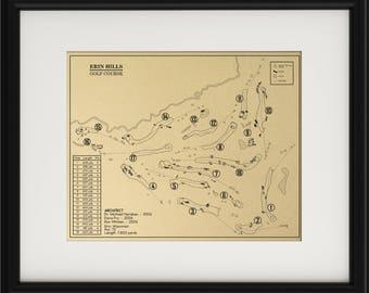 Erin Hills Golf Course Outline (Print)