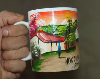 Hand Painted Honduras Village Coffee Mug