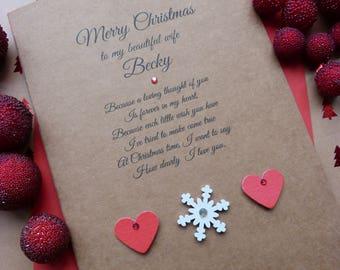 Handmade Personalised Kraft Christmas Card Wife Girlfriend Husband Boyfriend