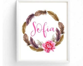 Custom Name Baby Girl Names Personalized Prints Boho Nursery Decor Baby Shower Gifts Beautiful Feather Wreath
