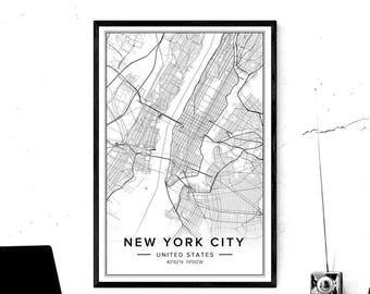 New York City Map, New York City Print, New York City Art, New York City Poster, Ny Map Art, Map Of New York, New York Wall Art, City Art