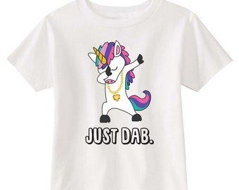 Just Dab Unicorn Toddler T-shirt (White)