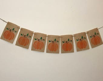 Pumpkin Banner, Thanksgiving Decor,Thanksgiving Burlap Banner