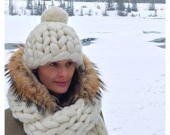 CHUNKY KNIT HAT, Merino wool beanie, merino pompom beanie, super chunky hat, Chunky beanie, Chunky knit beanie, winter hat