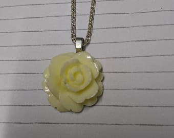 cream rose necklace - rose pendant - pendant necklace - silver chain - mothers day gift - flower cha