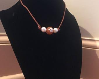 Antique Leather Clemson Paw Necklace