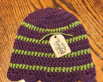 Girl's purple and green striped beanie