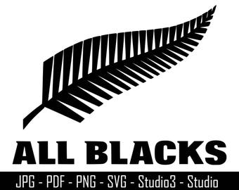 New Zealand All Blacks, All Blacks, Rugby, New Zealand - Cut Files - SVG, PNG, Studio, Studio3 - Silhoutte. Cricut and More - CS061