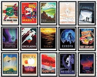 NASA JPL Space Travel Poster - Voyager Print Art - Home Decor - Science Fiction Poster - Jupiter Saturn Uranus Neptune