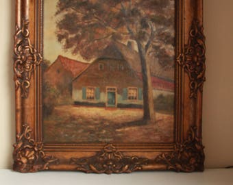 Old Painting, Oil Canvas Painting, Gift, Vintage Frame, Home Decor, Collection Treasure Old Farm Painting Signed by the Artist