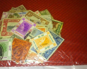 Stamp Collection Of 50 Old British Empire Stamps