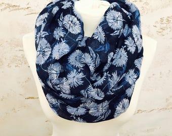 Dandelion infinity scarf, chunky scarf, womens scarf, cowl scarf, winter scarf, loop scarf, circle scarf, scarves, print infinity scarf