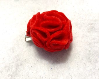 Girly Red Flower Hair Clip