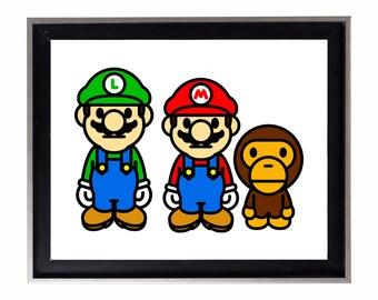 Bape Baby Milo x Mario & Luigi Poster or Art Print (a bathing ape)