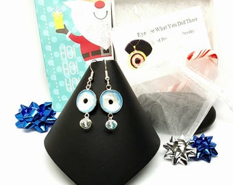 White Glow in the Dark Evil Eye Earrings\ Evil Eye\ White Earrings\ UV Reactive Jewelry\ Gift Idea for Her\ Hand Painted Evil Eye\ Trendy