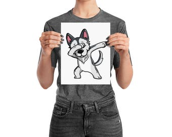 Funny Dabbing Husky Poster, Cute Siberian Husky Dog Wall Art