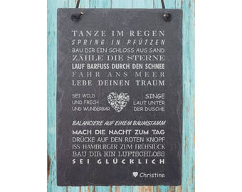 """Engraved plaque of slate """"dance"""" engraving with wish name including leather strap"""