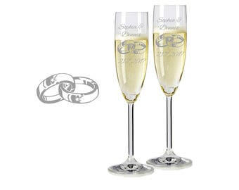 "2 Leonardo champagne glasses with personalized engraving ""Rings 2"" bride/Groom with name and date engraved wedding gift"