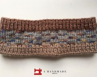 Handmade Knit Headband Grey Colors Mix of 100% Wool and Acryl Earwarmer Winter