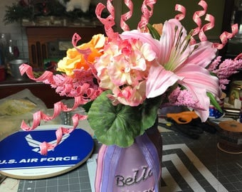 Spring Floral Arrangement in large painted mason jar  Free Shipping