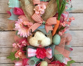 Handmade deco mesh Easter/Spring door swag/wreath/hanger