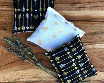 Bedroom Accessories - Lavender Drawer Sachet - Black and White Decoration - Modern Bedroom Decor - Gold Arrow Decor - Lavender Gifts for Her
