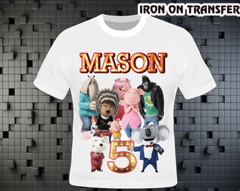 Sing Movie Iron On Transfer , Sing Movie Birthday Shirt DIY , Sing Movie Shirt DIY , Iron On Transfer , Digital File