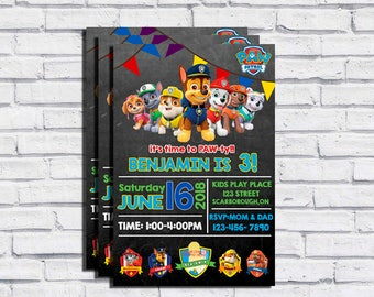 Paw Patrol Custom Chalkboard Birthday Invitation