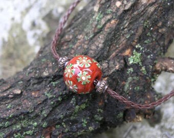 Terracotta necklace,  lampwork necklace, glass mosaic necklace, historical beads, viking beads