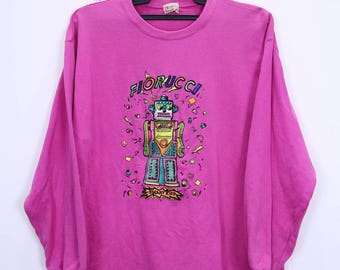 Vintage Fiorucci Sweatshirt Long Sleeve Embroidery Logo Spellout Pink Colour