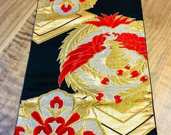 Table runner antique kimono obi