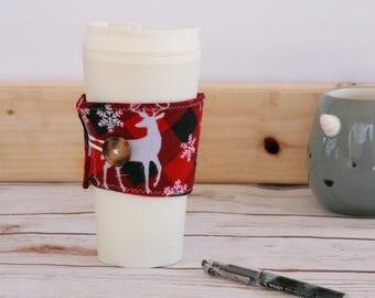 Coffee Cozy Sleeve - red buffalo plaid reindeer snowflakes / reusable coffee sleeve