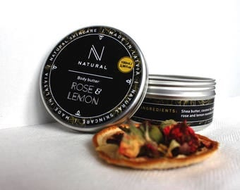 N A T U R A L | body butter with Rose & Lemon flavor | handmade | bath gift set | Christmas gift