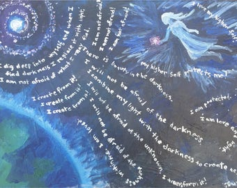 Spiritual Acrylic Painting Print- Darkness