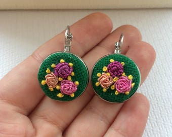 Embroidery Earrings, Floral Earrings, Gift For Mother, Hand Embroidered, Bridesmaid Gift, Flower, Dangle Earrings, Embroidery Jewelry, Gift