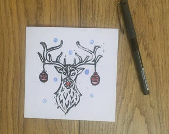 Reindeer Lino Print Christmas Card
