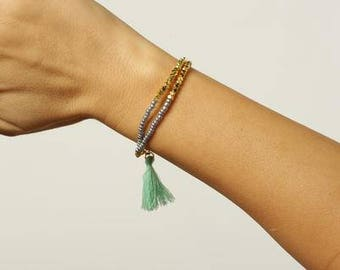 Fun, colorful, green, gold, gray tassle/fringe boho bracelet/accessories