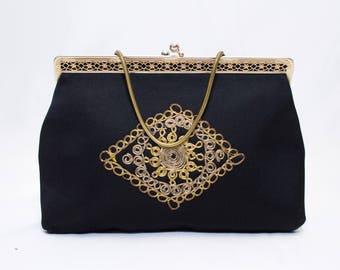 Black Satin Purse with Gold Filagree Ornament