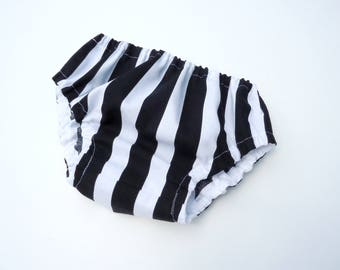 Diaper cover-Baby bloomers-Black&white stripes nappy cover-Baby gender neutral diaper cover-Cake smash diaper cover-Baby gift