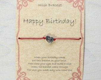 Handmade Gift Card, Happy Birthday Wish Bracelet. Heart charm, cotton waxed cord.