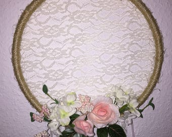 Dream catcher rose pink white lace