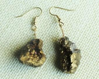 Gold Druzy Earrings