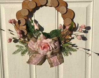 Spring Wood Disc Wreath.