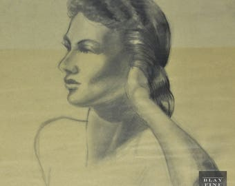 Original WWII PIN-UP Portrait Model  1940's Figure 20th Century Drawing Vintage Art Deco Old Vintage