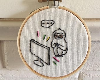 "Sloth Goods, Embroidery hoop art, 3"" hoop art, Sloth's Screen Time, Funny Embroidery, Animal embroidery, Sloth Embroidery series"