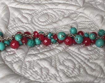 Turquoise and red glass beaded bracelet