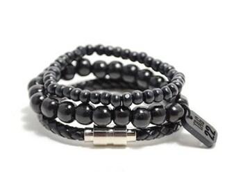 3 Pack 10mm/6mm/Leather Black Bracelet Set