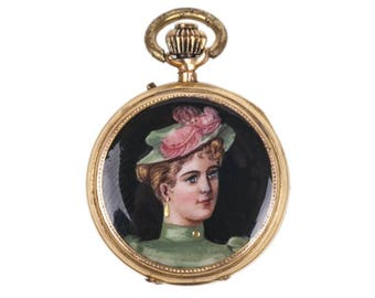 12K Gold and Enamel Open Face Pocket Watch, The beginning of 1900s. 10 jewels, Remontoir cylinder 10 rubies